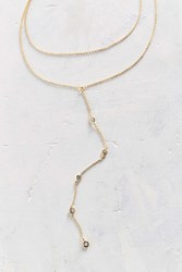 Urban Outfitters Bella Rhinestone Lariat Necklace Gold