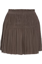 Isabel Marant Alanis Pleated Voile Mini Skirt Gray
