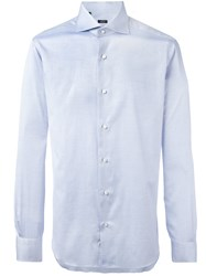 Barba Pleated Cuffs Shirt Blue