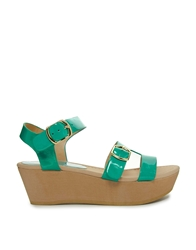 Chocolate Schubar Bell Heeled Sandals Turquoise