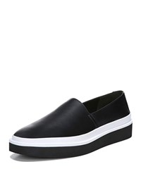 Via Spiga Travis Leather Platform Sneakers Black