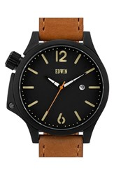Men's Edwin 'Brook' Leather Strap Watch 43Mm