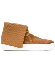 Ports 1961 Ribbed Knit Hi Top Sneakers Nude Neutrals