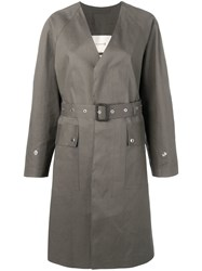 Mackintosh Taupe Bonded Cotton V Neck Coat Lr 096 Grey