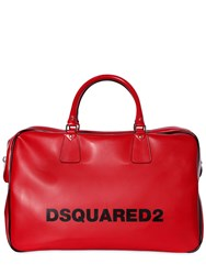 Dsquared Logo Printed Faux Leather Duffle Bag