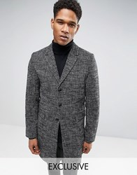 Only And Sons Overcoat In Salt Pepper Charcoal Grey