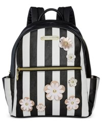 Betsey Johnson Floral Backpack Only At Macy's Black White Stripe