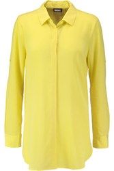Dkny Silk Blend Chiffon Shirt Yellow