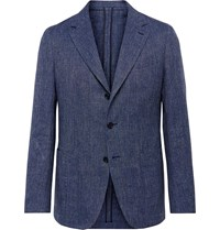 Caruso Herringbone Linen And Cotton Blend Blazer Blue