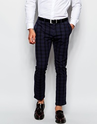 Sisley Check Trousers In Slim Fit Blue
