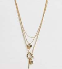 Monki Layer Necklace With Multi Pendants In Gold