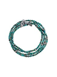 M Cohen M. Beaded Wrap Bracelet Green