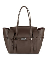 Zac Posen Winged Leather Tote Dark Brown