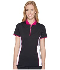 Callaway Color Blocked Short Sleeve Polo Caviar Women's Short Sleeve Pullover Black
