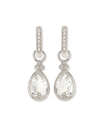 Jude Frances Pear Provence White Topaz And Diamond Charms For Earrings White Gold Judefrances Jewelry