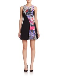 Versace Contrast Graffiti Print Dress Black Multi
