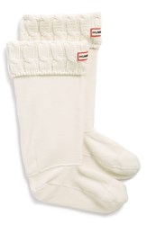 Women's Hunter Original Tall Cable Knit Cuff Welly Socks Natural White