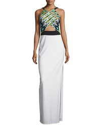 Mignon Sleeveless Column Gown W Cutout Green