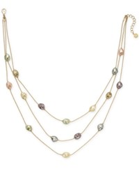 Charter Club Gold Tone Imitation Pearl Triple Row Necklace 20 2 Extender Created For Macy's Gold Multi