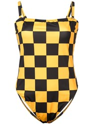 Solid And Striped Checkered Malibu One Piece Yellow And Orange