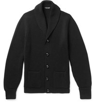 Tom Ford Shawl Collar Ribbed Wool Cardigan Black