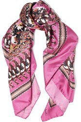 Roberto Cavalli Day Dream Printed Silk Scarf Magenta