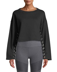 Alo Yoga Suspension Lace Up Cropped Pullover Sweater Black