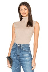 Enza Costa Cashmere Rib Sleeveless Turtleneck Sweater Brown