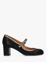 Chie Mihara Happo Mid Heel Court Shoes Black Leather
