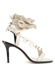 Isabel Marant Ansel Ruffle Trimmed Leather Sandals Cream