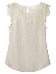 East Linen Short Sleeve Lace Top Ivory