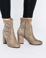 New Look High Ankle Heel Boots Grey