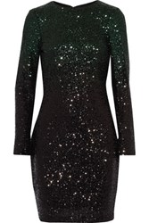 Badgley Mischka Whitney Degrade Sequined Tulle Mini Dress Black