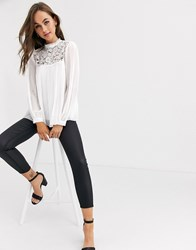 Lipsy Lace Pleated Top White