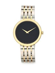 Movado Stainless Steel And Yellow Bracelet Watch Black