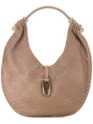 Giorgio Armani Vintage Curved Hobo Style Bag Brown