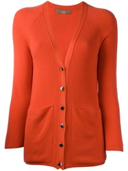 Cruciani Ribbed V Neck Cardigan Yellow Orange