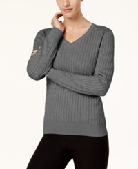 Karen Scott Cotton V Neck Cable Knit Sweater Created For Macy's Charcoal Heather