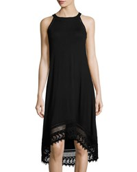 Neiman Marcus Ladder Stitch Trim Sleeveless Jersey Dress Black
