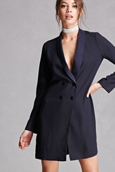 Forever 21 Twelve Double Breasted Blazer Navy