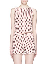 Alice Olivia 'Amal' Polka Dot Jacquard Boxy Tank Top Multi Colour