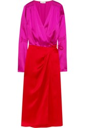 Attico Gabriela Two Tone Satin Wrap Dress Bright Pink