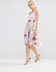 Hope And Ivy Cami Skater Dress In Floral Print Pink