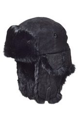 Woolrich Suede Aviator Cap With Rabbit Fur Trim Black Black