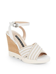 French Connection Jane Slingback Wedge Sandals Natural White