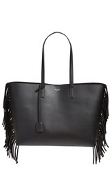 Saint Laurent 'Large Shopping' Fringe Tote Black Noir