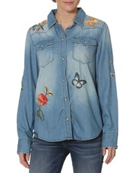 Driftwood Floral Embroidered Denim Shirt Blue