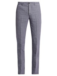 Massimo Alba Winch Slim Leg Linen Trousers Purple