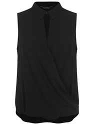 Miss Selfridge Sleeveless Collar Blouse Black