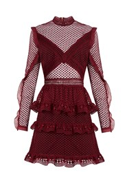 Self Portrait Dot Mesh Tiered Mini Dress Burgundy